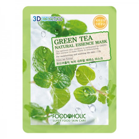 3D Маска тканевая с экстрактом зеленого чая успокаивает раздражения и увлажняет FoodaHolic Green Tea Natural Essence 3D Mask