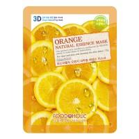 3D Маска тканевая с экстрактом апельсина  для сужения пор и улучшения цвета лица FoodaHolic Orange Gram Natural Essence 3D Mask