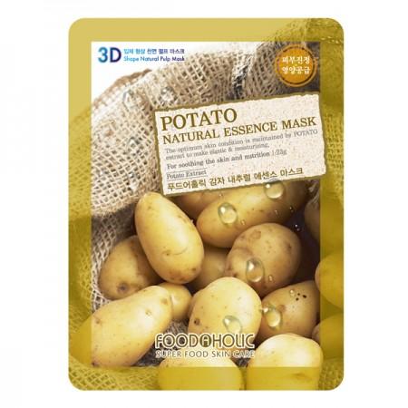 3D Маска тканевая с экстрактом картофеля для питания и устранения отеков FoodaHolic Potato Natural Essence 3D Mask