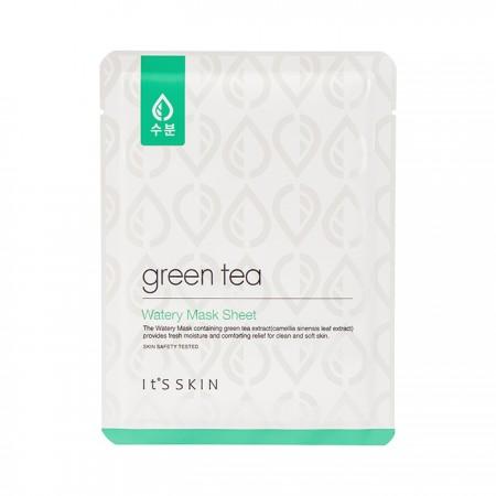 Увлажняющая тканевая маска для лица с экстрактом зелёного чая It's Skin Green Tea Watery Mask Sheet